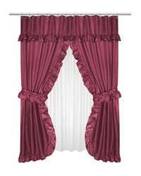 Lauren Double Swag Shower Curtain Burgundy by