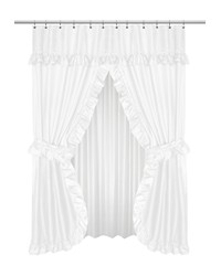 Lauren Double Swag Shower Curtain White by
