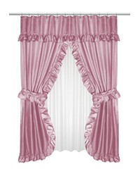 Lauren Double Swag Shower Curtain Rose by
