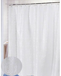 Damask Fabric Shower Curtain in Ivory by