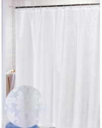 Damask Fabric Shower Curtain in White by