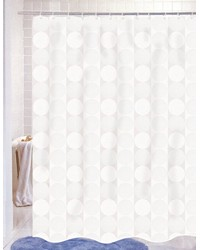Jacquard Circles Fabric Shower Curtain in White by