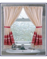Fleur Fabric Window Curtain in Burgundy by