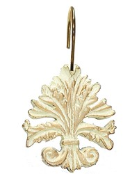 Fleur dis Lis Resin Shower Curtain Hooks in Brushed Gold  by