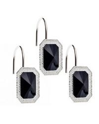 Tiffany Bejeweld Resin Shower Curtain Hooks in Black by