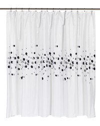 Extra Wide Dots Fabric Shower Curtain by