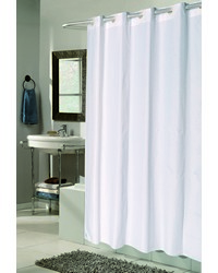 EZ-ON Checks Polyester Shower Curtain in White by