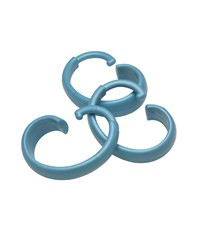 Hang Ease C Type Plastic Shower Curtain Hooks in Light Blue by