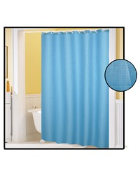 Waffle Weave Polyester Curtain in Light Blue by