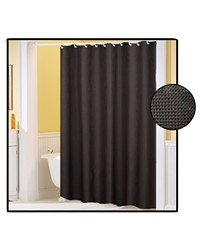 Waffle Weave Polyester Curtain in Black by
