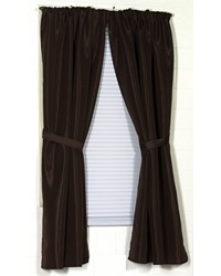 Lauren Diamond-Piqued Polyester Window Curtain in Brown by