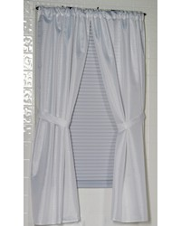 Lauren Diamond-Piqued Polyester Window Curtain in White by