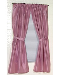 Lauren Diamond-Piqued Polyester Window Curtain in Rose by