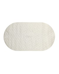 Weave Look Vinyl Bath Tub Mat Size 15x27 in Ivory by