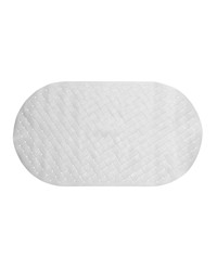 Weave Look Vinyl Bath Tub Mat Size 15x27 in White by