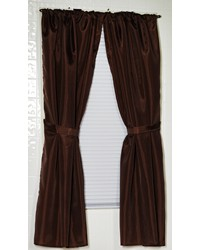 Polyester Fabric Window Curtain in Brown by