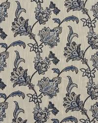 Blue Jacobean Floral Fabric  1191 Persian Blue
