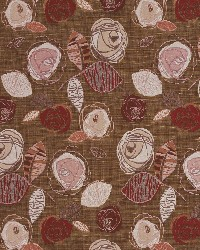 Brown Modern Floral Designs Fabric  Rosewood Bloom 1376