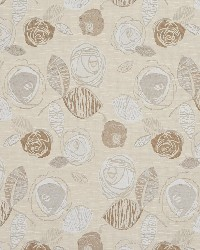 Brown Modern Floral Designs Fabric  Natural Bloom 1377
