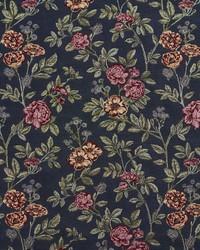Blue Large Print Floral Fabric  1979 Navy Bouquet