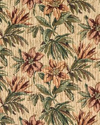 Green Large Print Floral Fabric  6862 Wheat/Tropic