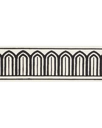 Arches Embroidered Tape Black On White by  Schumacher Trim