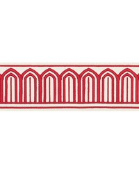 Arches Embroidered Tape Red by  Schumacher Trim