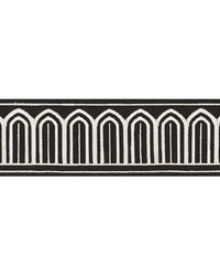 Arches Embroidered Tape White On Black by  Schumacher Trim