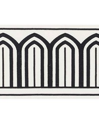 Arches Embroidered Tape Wide Black On White by  Schumacher Trim