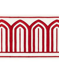 Arches Embroidered Tape Wide Red by  Schumacher Trim