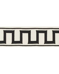 Greek Key Embroidered Tape Black On Ivory by