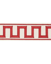 Greek Key Embroidered Tape Red by
