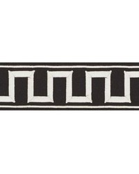 Greek Key Embroidered Tape Black On White by