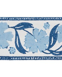 Adra Hand Blocked Tape Blues by  Schumacher Trim