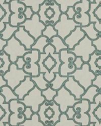 Trellis Diamond Fabric  Scroll Maze Lagoon