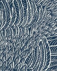 Featherfest Marine by  Schumacher Wallpaper