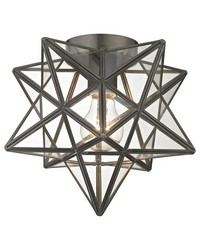 Moravian Star Flush Mount - Bronze With Clear Glass by
