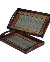 Set Of 2 Checked Trays by