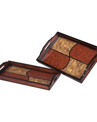 Set Of 2 Quartered Trays by