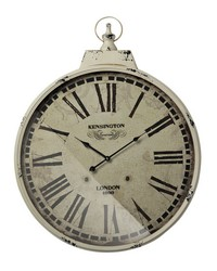 Kensington Station Clock With Antique Cream Metal Frame by