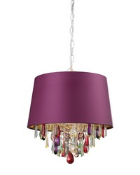 Purple Drum Pendant Light With Crystal Drops by