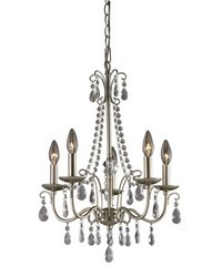 Antique Silver Chandelier In Silver  Clear by