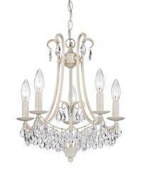 Mini Chandelier In Antique Cream And Clear by