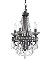 Mini Chandelier In Dark Bronze And Clear by