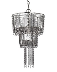 Beaded Mini Chandelier In Satin Nickel And Clear by