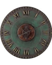 Metal Roman Numeral Outdoor Wall Clock Marilia Verde by