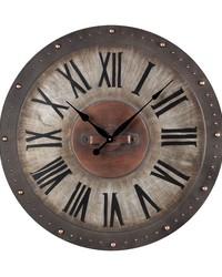 Metal Roman Numeral Outdoor Wall Clock Jardim Grey by