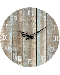 Wooden Roman Numeral Outdoor Wall Clock Light Blue by