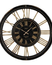Large Clock With Distressed Hand painted Frame Antique Black by