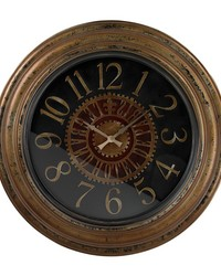 Large Clock With Distressed Hand painted Frame Black Maroon by